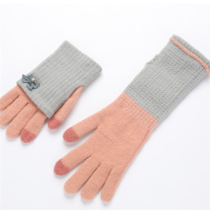New autumn and winter students thick double warm wool ladies gloves bow point diamond decorative touchscreen hand gloves