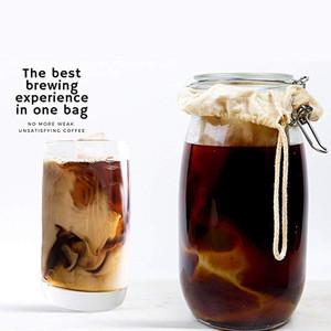 Organic Cotton nut milk bag Cold Brew drip coffee bag with Drawstring Cold Brew Maker
