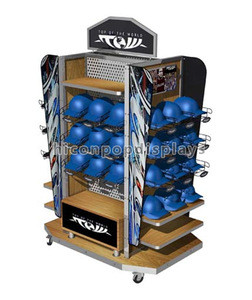 Quality Assured 4-Way Display Stand, Pegboard Panel Wooden Shelving Movable Baseball Cap Display