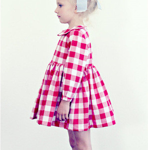 Red Gingham Dresses Peter Pan Collar Full Twirl Skirt Red And White Cotton Frock Long Sleeve Fall Boutique Girl Clothing
