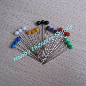 Standard Colors 38mm Plastic Round Head Glossy Plated Rustproof Sewing Needles