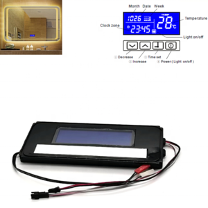 Time Temperature LED Mirror  Bathroom Wall Mount Lighting Mirror Led Vanity Mirror Touch Switch Display