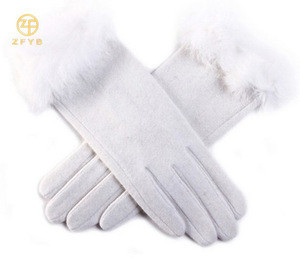 White woolen gloves with fur lined in 2016 best selling