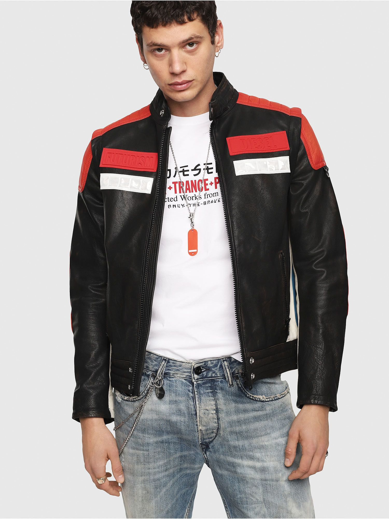 Men faux leather motor jacket