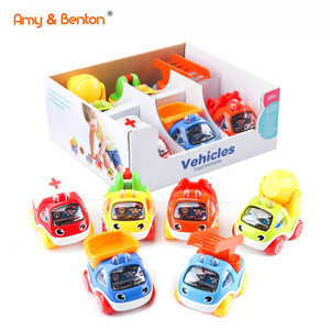 Amy & Benton Pull Back Cars Toy for 1 2 3 Year Old Baby & Toddlers Toy Vehicles for Boys Birthday Gift