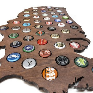 Best Selling Wood Beer Laser Craft Cap Maps For Bar Deco 2019