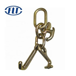 Chain V-Bridles For Tow Trucks And Flatbed Wreckers Grade 70 R-Hooks And Twisted T/J Combination Hooks