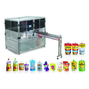 China  baby fruit juice with straw pouch packaging bag filling capping machine