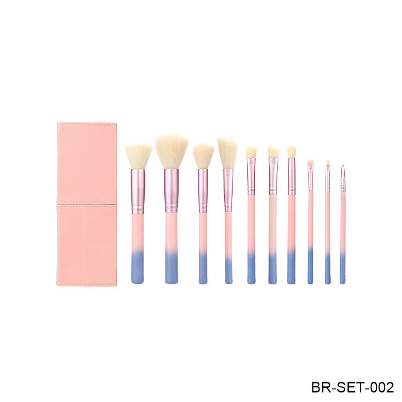Cosmetic Makeup Brush Set Travel Brush with Synthetic Hair and Wood Handle.