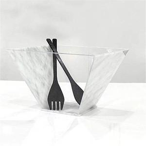 custom eco friendly large marble acrylic salad serving dishes plastic salad bowl