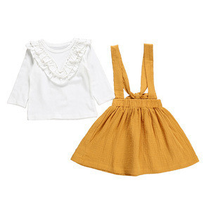 Essential autumn long Sleeve Baby pure white top Infant yellow skirt for Newborn Babies Clothes Wear clothing baby sets