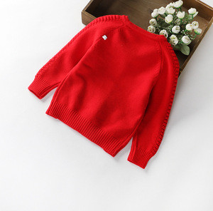 Fashion girls red baby cotton cardigan sweater wholesale