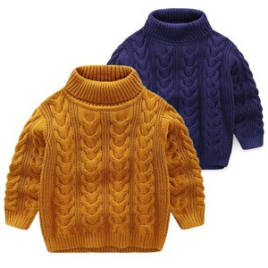 High quality knitted children high-collar thickened sweater baby boys pullover sweater