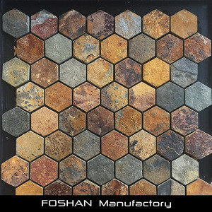Hot Selling Rusty Natural Slate Hexagon Mosaic for Garden Decoration