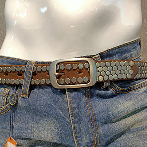 J132914 punk style genuine leather belt with rivet brown color cowhide leather belt for men and boys