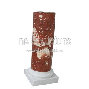 Red Marble Pedestals bust round stand  statue pillars for statues and Busts NSMP1803