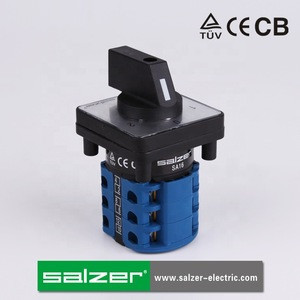 Salzer SA16 16A 1-0-2  3 Pole AC Change Over Switch  silver faceplate 48x48mm (TUV, CE and CB Approved)