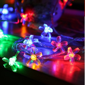 Solar Peach Flower String Light Romantic Home Bedroom Decoration Lighting LED Waterproof Copper Lights