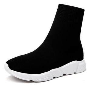 Trendy Lady Footwear Solid Platform Sock Boots Slip On Round Stretch Ankle Boots Women Shoes OEM Black Knitted Sock Boots
