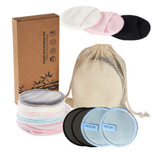 Washable Eco-friendly Natural 100% Organic Reusable Facial Face Cleansing Cotton Rounds Bamboo Makeup Remover Pads for Women