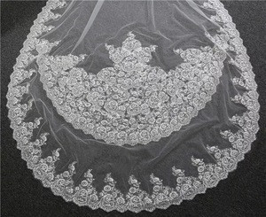 Wholesale Appliqued Lace Ivory Cathedral Wedding Bridal long Veil