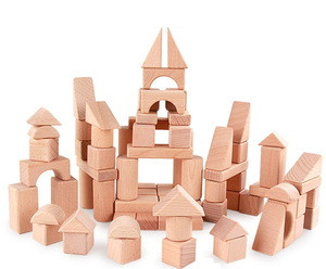 Wholesales Baby Beech Wooden Building Blocks For Kids Educational DIY toys