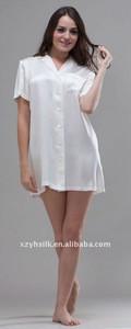 Womens Silk Short Sleeve Nightshirts