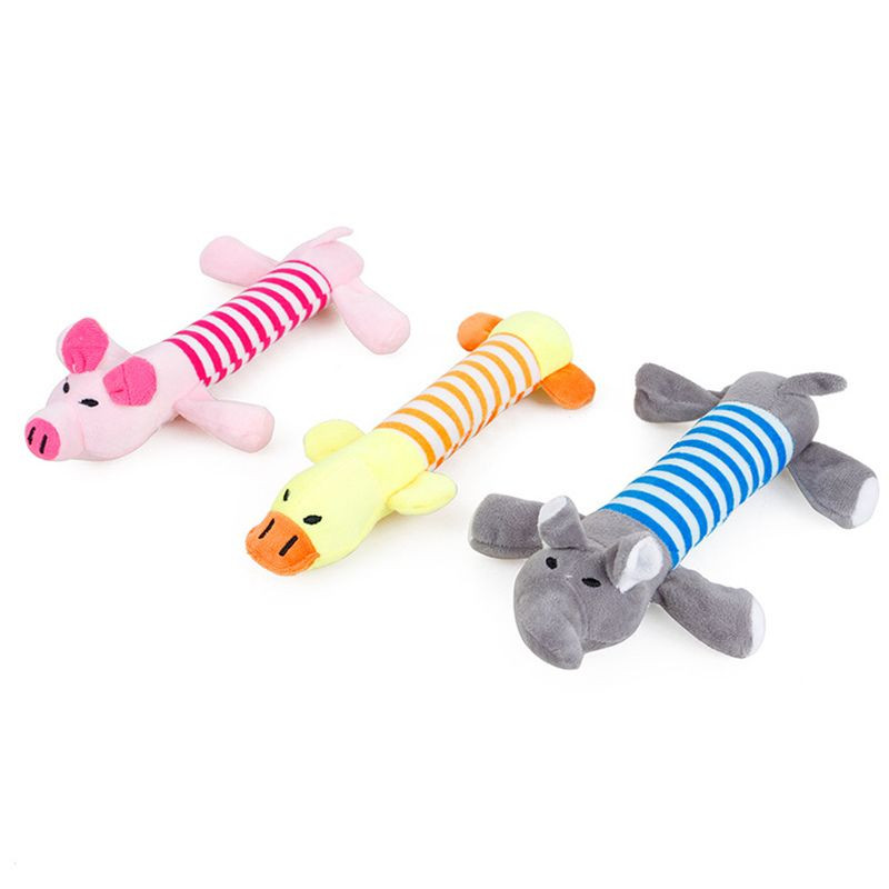 New design striped shirt cartoon animals pig duck elephant pet toys plush toys for dog