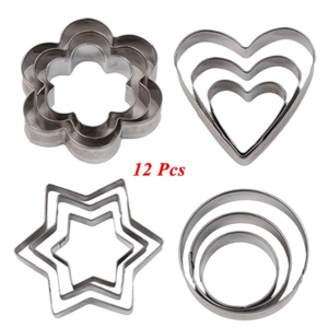 12-piece set home stainless steel cookie cutter mold cupcake frosting fruit cut star circle love flower cookies fondant