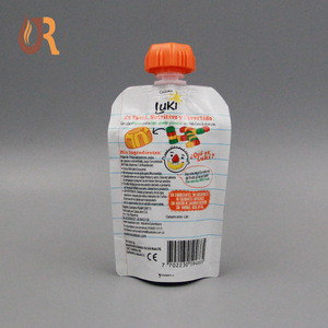 2018 Customized Stand up juice, fruit drink,baby food with cap stand up spout pouch