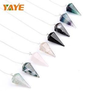 Natural semi-precious stones drawing pendulum Gemstones pendulums healing crystal stones