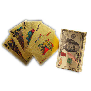 New Gold Foil Poker Golden Poker Cards 24K Plated Poker Table Games Waterproof Plastic Playing Cards