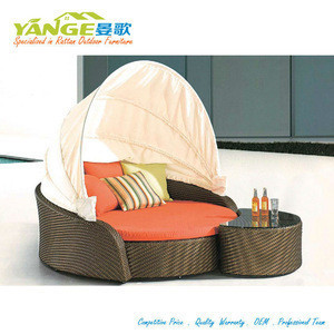 Outdoor rattan canopy daybed tanning sunbed