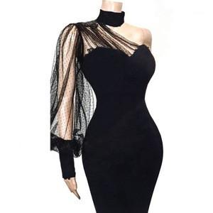 Wholesale  KEN-66761 women black dress one shoulder polka dots mesh dresses bodycon modest dress